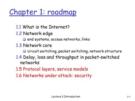 Lecture 3 Introduction 1-1 Chapter 1: roadmap 1.1 What is the Internet? 1.2 Network edge  end systems, access networks, links 1.3 Network core  circuit.