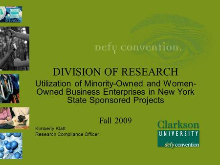 DIVISION OF RESEARCH Utilization of Minority-Owned and Women- Owned Business Enterprises in New York State Sponsored Projects Fall 2009 Kimberly Klatt.