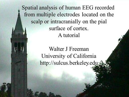 Tutorial on Spatial analysis of human EEG Spatial analysis of human EEG recorded from multiple electrodes located on the scalp or intracranially on the.