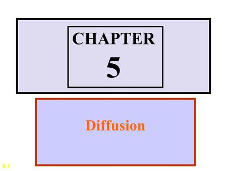 CHAPTER 5 Diffusion 5-1.