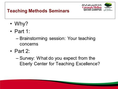 Teaching Methods Seminars Why? Part 1: –Brainstorming session: Your teaching concerns Part 2: –Survey: What do you expect from the Eberly Center for Teaching.