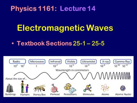 Electromagnetic Waves Textbook Sections 25-1 – 25-5 Physics 1161: Lecture 14.