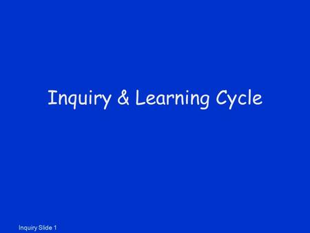 Inquiry Slide 1 Inquiry & Learning Cycle. What is Inquiry in Education? According to the National Science Education Standards: Inquiry is a multifaceted.