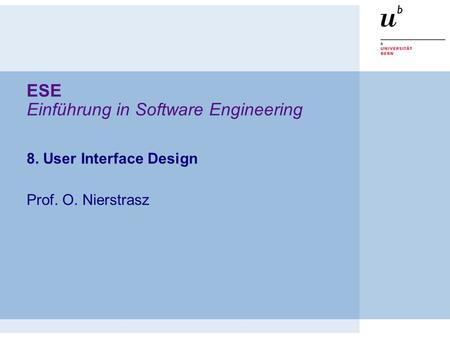 ESE Einführung in Software Engineering