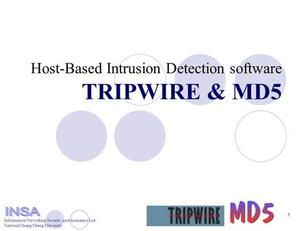 Information Networking Security and Assurance Lab National Chung Cheng University 1 Host-Based Intrusion Detection software TRIPWIRE & MD5.