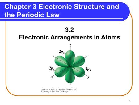 1 Chapter 3 Electronic Structure and the Periodic Law 3.2 Electronic Arrangements in Atoms Copyright © 2005 by Pearson Education, Inc. Publishing as Benjamin.