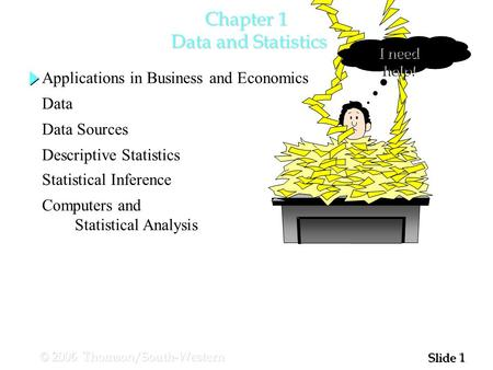 1 1 Slide © 2006 Thomson/South-Western Chapter 1 Data and Statistics I need help! Applications in Business and Economics Data Data Sources Descriptive.