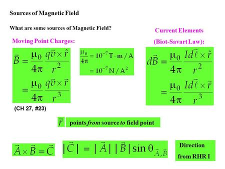 Biot-Savart Law Moving charge produces a curly magnetic