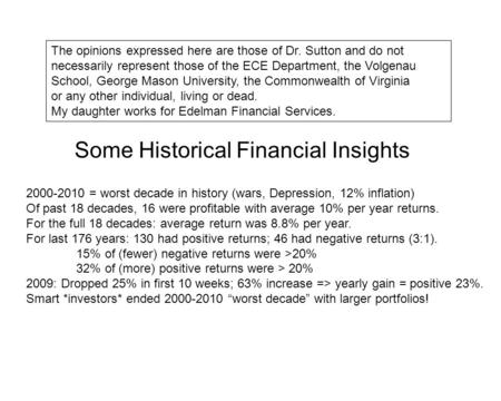 Some Historical Financial Insights 2000-2010 = worst decade in history (wars, Depression, 12% inflation) Of past 18 decades, 16 were profitable with average.