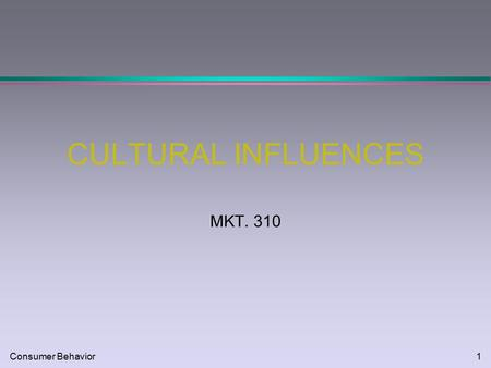 Consumer Behavior1 CULTURAL INFLUENCES MKT. 310. Consumer Behavior2 CHARACTERISTICS OF CULTURE l Learned l Adaptive l Analogies: l lens l blueprint l.