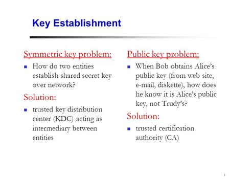 1 Key Establishment Symmetric key problem: How do two entities establish shared secret key over network? Solution: trusted key distribution center (KDC)