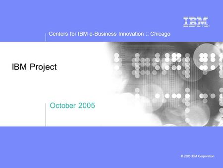 Centers for IBM e-Business Innovation :: Chicago © 2005 IBM Corporation IBM Project October 2005.