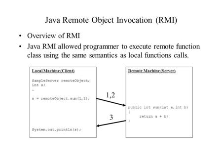 Java Remote Object Invocation (RMI) Overview of RMI Java RMI allowed programmer to execute remote function class using the same semantics as local functions.