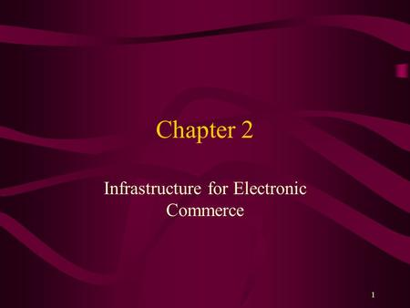 1 Chapter 2 Infrastructure for Electronic Commerce.