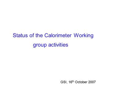Status of the Calorimeter Working group activities GSI, 16 th October 2007.