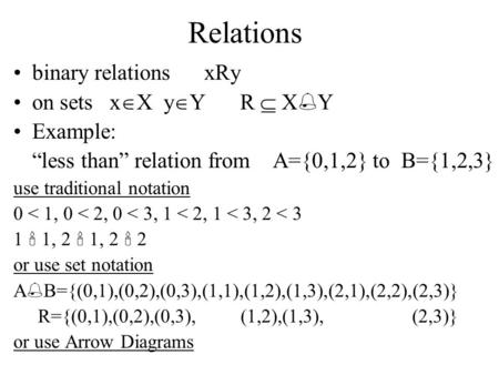 "Relations binary relations xRy on sets x  X y  Y R  X  Y Example: ""less than"" relation from A={0,1,2} to B={1,2,3} use traditional notation 0 < 1,"