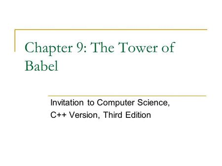 Chapter 9: The Tower of Babel