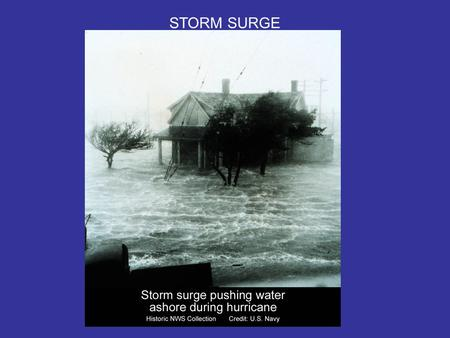 STORM SURGE. Composed of several attributes: A)Barometric – Coastal water response to low pressure at center of storm B) Wind stress – frictional drag.