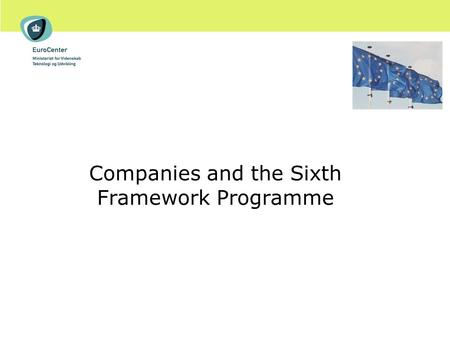 Companies and the Sixth Framework Programme. Agenda Overview of the 6 th Framework Programme (FP6) Why participate ? Industry participation in FP6 What's.