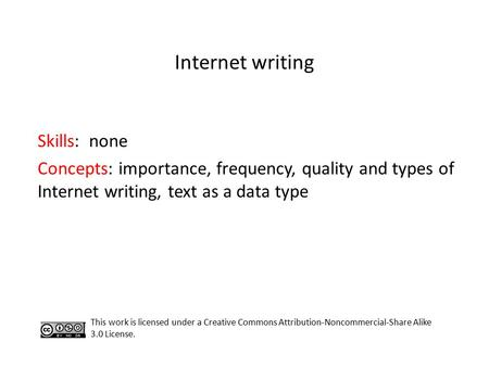 Internet writing Skills: none Concepts: importance, frequency, quality and types of Internet writing, text as a data type This work is licensed under.