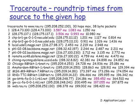 2: Application Layer1 Traceroute – roundtrip times from source to the given hop traceroute to www.rsu.ru (195.208.252.130), 30 hops max, 38 byte packets.