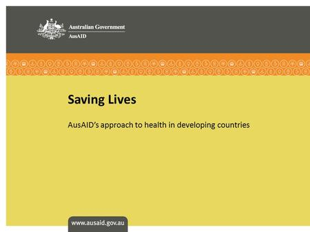 AusAID's approach to health in developing countries