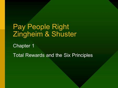 Pay People Right Zingheim & Shuster