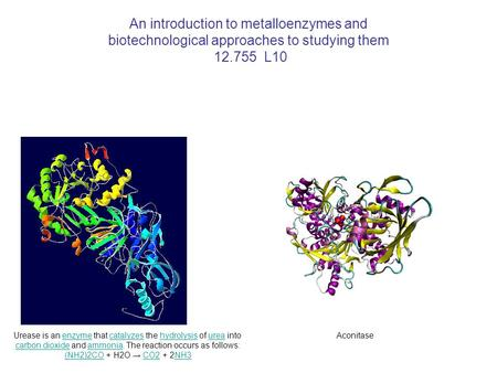 An introduction to metalloenzymes and biotechnological approaches to studying them 12.755 L10 Urease is an enzyme that catalyzes the hydrolysis of urea.