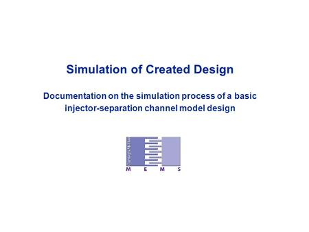 Simulation of Created Design Documentation on the simulation process of a basic injector-separation channel model design.