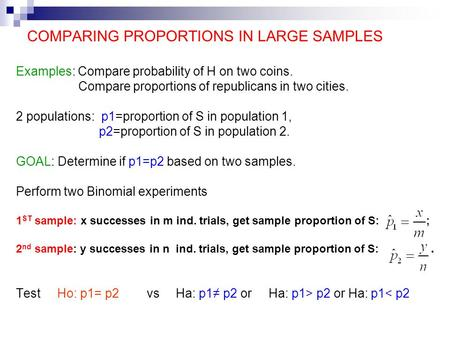 COMPARING PROPORTIONS IN LARGE SAMPLES Examples: Compare probability of H on two coins. Compare proportions of republicans in two cities. 2 populations: