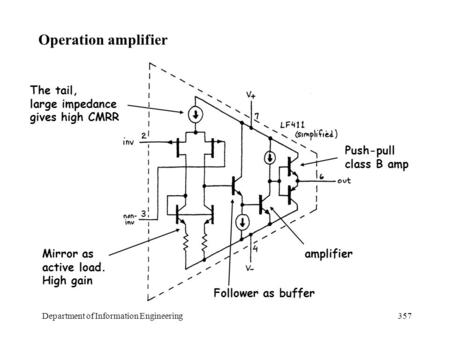 Department of Information Engineering357 Operation amplifier The tail, large impedance gives high CMRR Mirror as active load. High gain Follower as buffer.