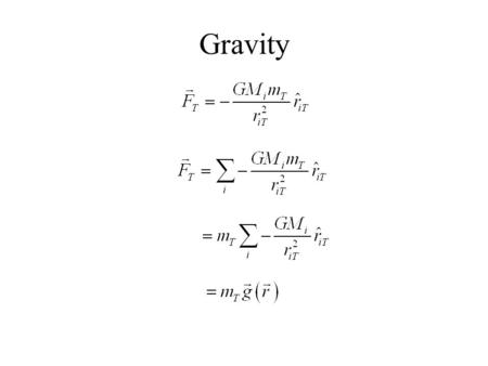 Gravity. Gravitational Field Interpretation: Gravitational Field is the force that a test particle would feel at a point divided by the mass of the test.
