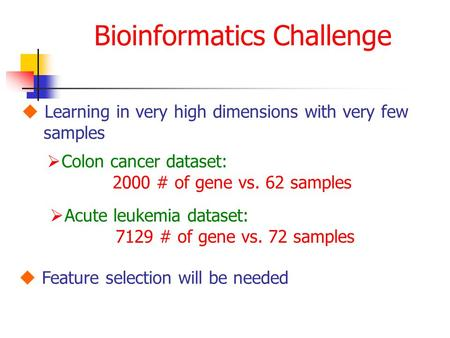 Bioinformatics Challenge  Learning in very high dimensions with very few samples  Acute leukemia dataset: 7129 # of gene vs. 72 samples  Colon cancer.