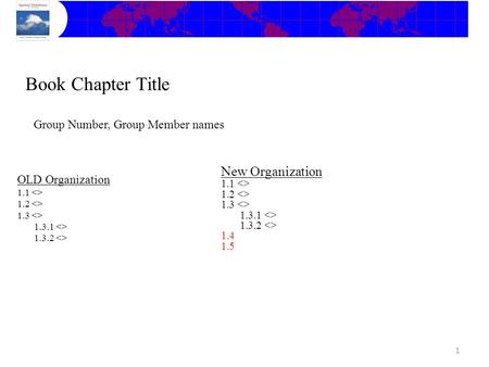 OLD Organization 1.1  1.2  1.3  1.3.1  1.3.2  Book Chapter Title Group Number, Group Member names New Organization 1.1  1.2  1.3  1.3.1.
