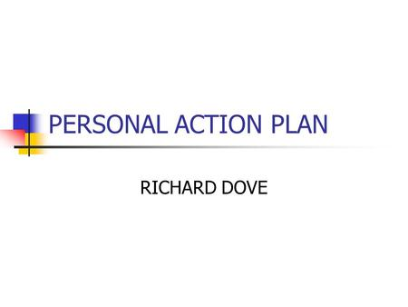 PERSONAL ACTION PLAN RICHARD DOVE. KEY LESSONS LEARNED CREATE LEARNING ENVIRONMENT IMPROVE PARTICIPATION IMPROVE CRITICAL REFLEXION USE OF M&E MATRIX.