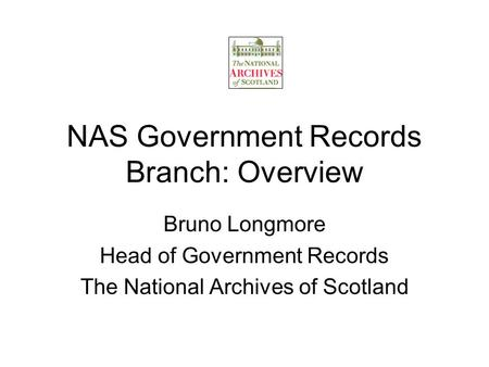 NAS Government Records Branch: Overview