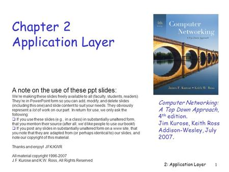 2: Application Layer1 Chapter 2 Application Layer Computer Networking: A Top Down Approach, 4 th edition. Jim Kurose, Keith Ross Addison-Wesley, July 2007.