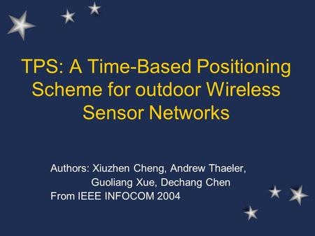 TPS: A Time-Based Positioning Scheme for outdoor Wireless Sensor Networks Authors: Xiuzhen Cheng, Andrew Thaeler, Guoliang Xue, Dechang Chen From IEEE.