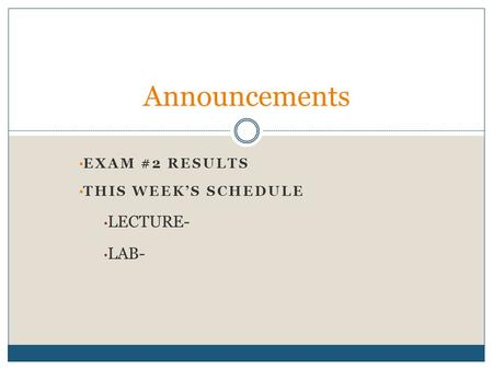 EXAM #2 RESULTS THIS WEEK'S SCHEDULE LECTURE- LAB- Announcements.