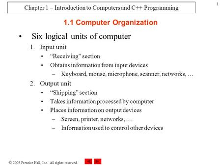" 2003 Prentice Hall, Inc. All rights reserved. 1 1.1 Computer Organization Six logical units of computer 1.Input unit ""Receiving"" section Obtains information."
