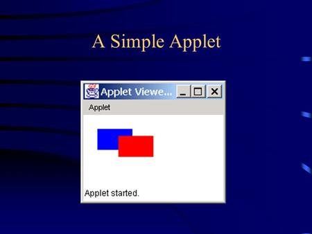 A Simple Applet. Applets and applications An applet is a Java program that runs on a web page –Applets can be run from: Internet Explorer Netscape Navigator.