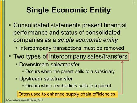 ©Cambridge Business Publishing, 2010 Single Economic Entity  Consolidated statements present financial performance and status of consolidated companies.