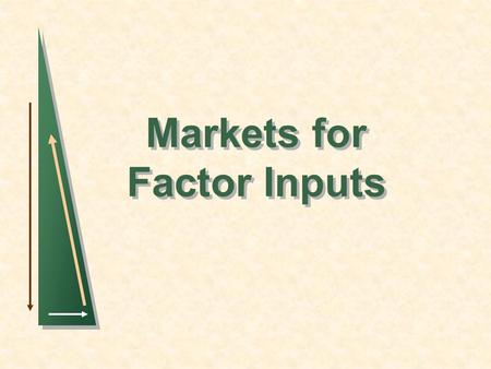 Markets for Factor Inputs. Slide 2 Markets for factor inputs In some examination questions, one is asked to comment on factor market questions, such as.