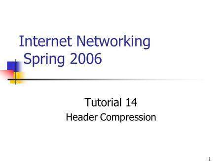 1 Internet Networking Spring 2006 Tutorial 14 Header Compression.