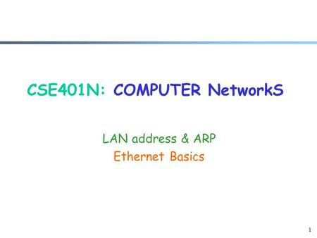 1 CSE401N: COMPUTER NetworkS LAN address & ARP Ethernet Basics.