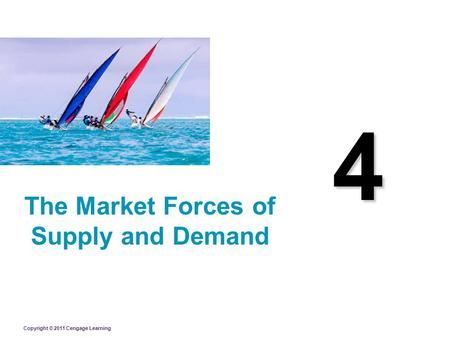 Copyright © 2011 Cengage Learning 4 The Market Forces of Supply and Demand.