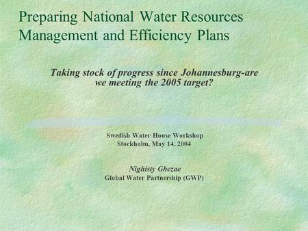 Preparing National Water Resources Management and Efficiency Plans Taking stock of progress since Johannesburg-are we meeting the 2005 target? Swedish.