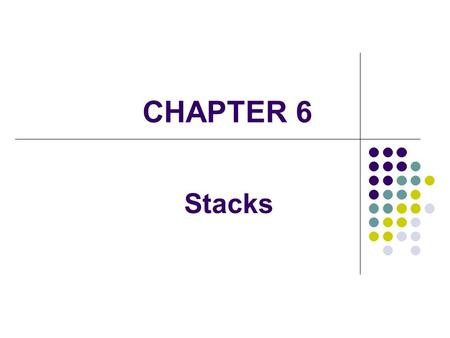 CHAPTER 6 Stacks. 2 A stack is a linear collection whose elements are added and removed from one end The last element to be put on the stack is the first.
