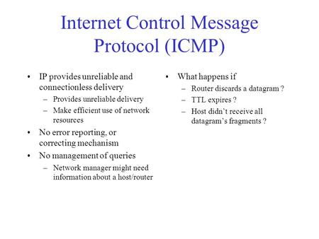 Internet Control Message Protocol (ICMP)