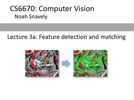 Lecture 3a: Feature detection and matching CS6670: Computer Vision Noah Snavely.